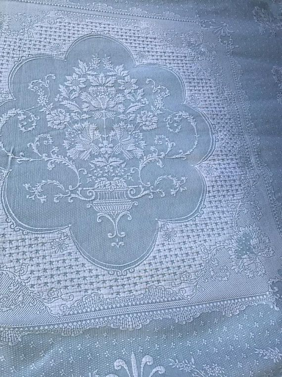 Bates Vintage Bedspread Pale Green Matelasse Spread Raised