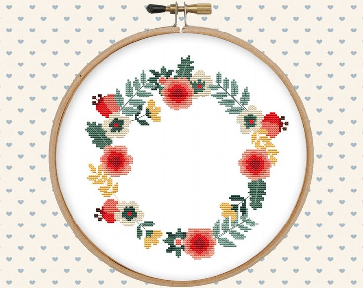 Floral wreath cross stitch pattern pdf - instant download - digital download - flower pattern pdf - pillow embroidered by GentleFeather on Etsy https://www.etsy.com/listing/290909949/floral-wreath-cross-stitch-pattern-pdf