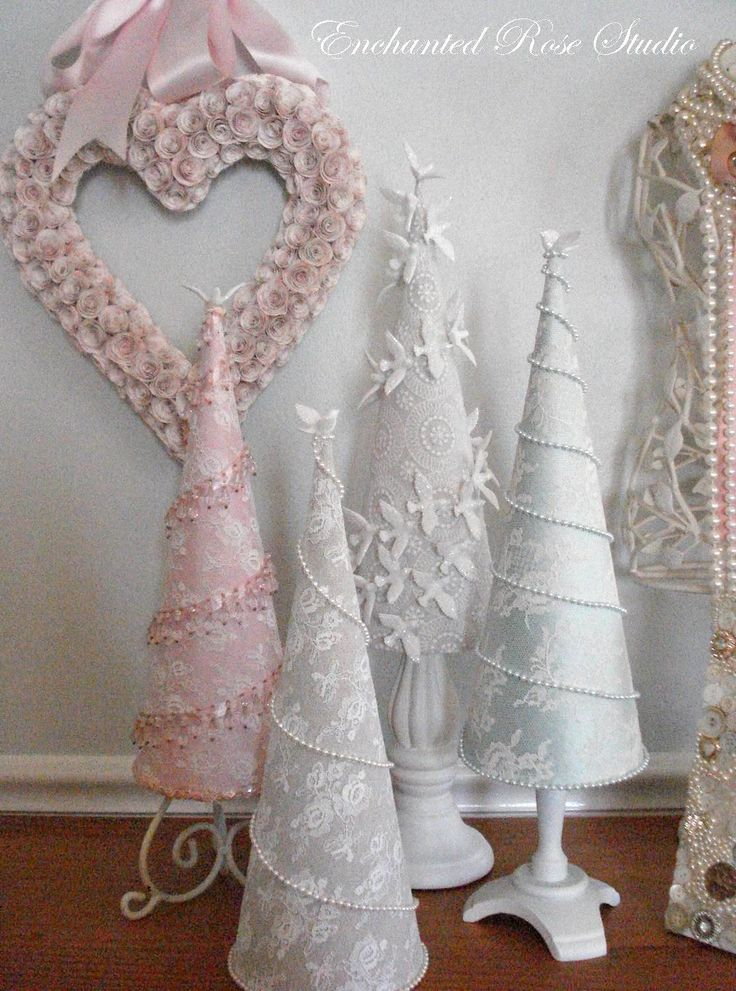 Christmas Cone Trees, pink, white, aqua, lace