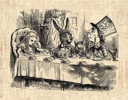 Alice in Wonderland Mad Hatter Tea Party Print from a Vintage Illustration Wall Art Poster or Print in a Vintage Script Paper Style - Living Room Bedroom Nursery Office Home Decor (16 x 20 Inches) - $44.9900