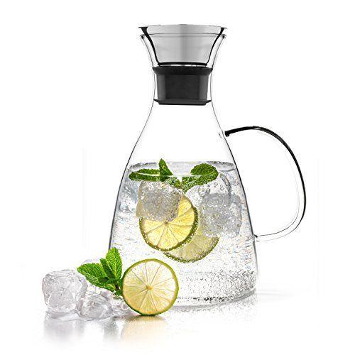 Tealyra – Carafe d'Eau 1600ml – Pichet en Verre – Théière en Verre avec Infuseur – Glass Carafe – Borosilicate Water Pitcher Jug Infuser –…