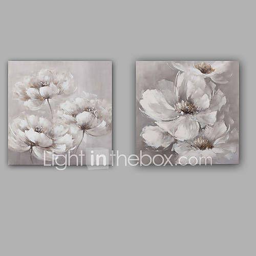 Pictat manual Abstract / Floral/Botanic Picturi de ulei,Modern / Clasic Două Panouri Canava Hang-pictate pictură în ulei For Pagina de 5421120 2017 – €105.53