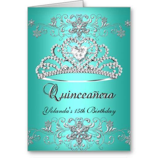 Add photo Greeting Card Quinceanera 15th Teal Blue Glitter Tiara