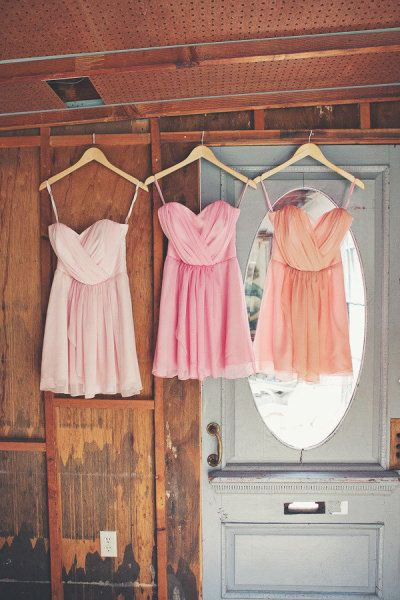 Give your wedding some color and put your bridesmaids in different color dresses