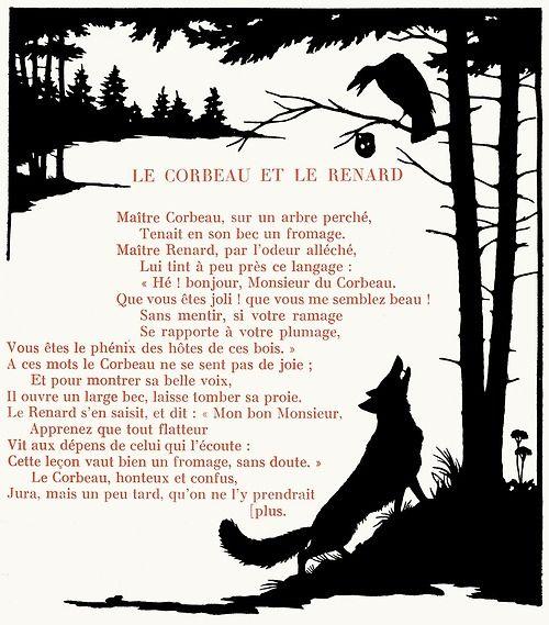 The crow and the fox. Félicien Philippe, from Les plus belles fables de La Fontaine (The finest fables of La Fontaine), Lausanne, circa 1921