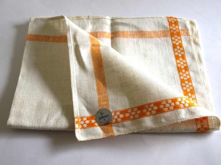 Polish Linen Orange and Cream Stripe Tea Towel - 60s Textilimpex Vintage Flower Pattern Tea Towel - Made in Poland - New Old Stock by FunkyKoala on Etsy