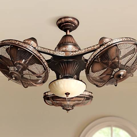 Three individually adjustable fan heads unite to form a stunning ceiling fan fixture.