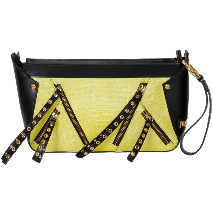 Black and gold is a major trend this Spring! This Just Cavalli punk rock clutch with multiple zippers is the perfect edgy addition to any outfit! #robertocavalli #yellow #leather #justcavalli #italianfashion #fashion #luxury #luxuryfashion #clutch #zippers #marinamall #moda #greenbird #gold #punk #rockstar