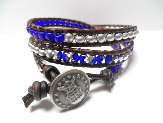 Air Force Girlfriend Bracelet  Air Force Triple Wrap Bracelet Military by JennyPennyCreations, $45.00