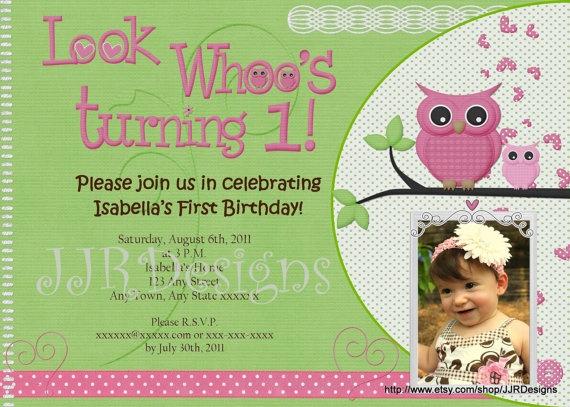 Best Birthday Invitations Images On Pinterest Birthday Party - 1st birthday invitations girl owl
