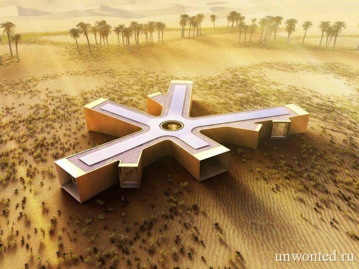 Эко дом в пустыне похожий на снежинку был создан Baharash Architecture для обеспеченного клиента недалеко от города Лива, в южном регионе ОАЭ (Объединенные Арабские Эмираты). Перед разработчиками проекта стояла непростая задача.   #дом в пустыне #экоархитектура