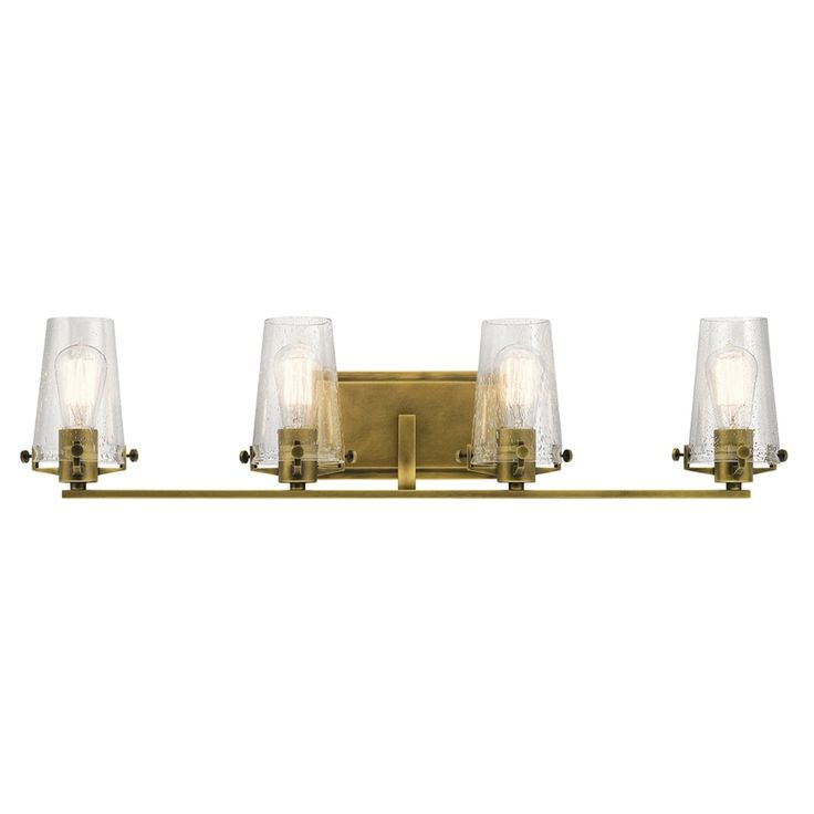 Kichler Alton 4-Light 8-In Natural Brass Cylinder Vanity Light Bar 45298Nbr
