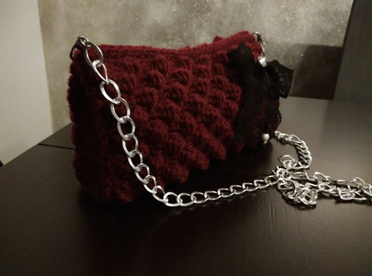 crochet purse crimson with black lace bow and long chain by yrozaf on Etsy