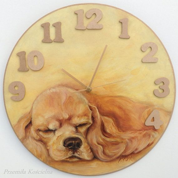DOG portrait Yellow  Orange PAINTED CLOCK by CanisArtStudio