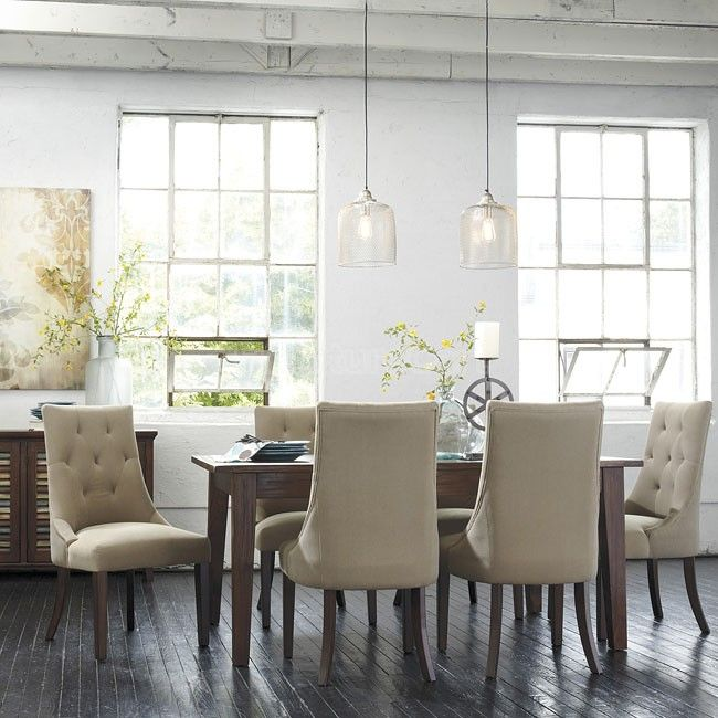 Mestler Brown Dining Set w/ Upholstered Chairs Inspired Dining