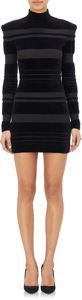 Balmain Long-Sleeve Turtleneck Dress-Black