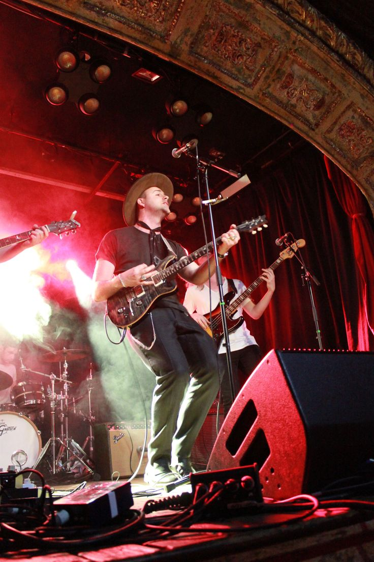 Musician Axel Jansson wearing Swedish shoe label Stig Percy's loafers on stage at the O'meara venue in London
