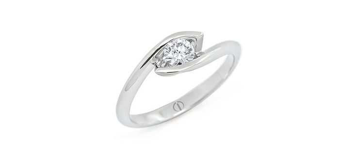 Inspired Croft Diamond Ring. Offset lines of platinum secure a round brilliant cut diamond - the ring pictured features a 0.25ct diamond.
