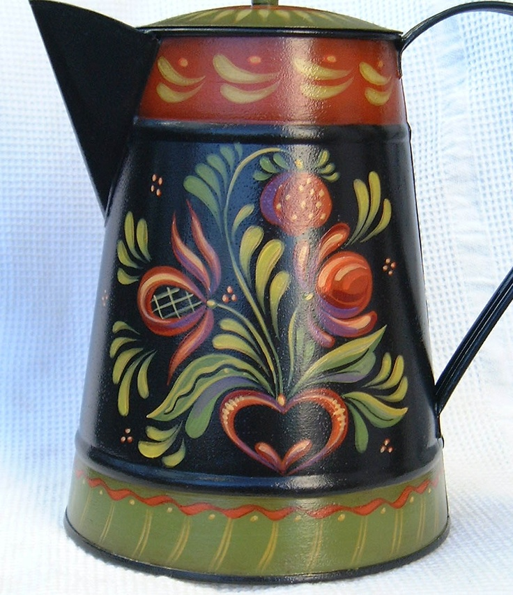 Design by Jo Sonia Jansen painted by me. (I would normally put this type of tin in my Early American Decoration, but because it is a design by Jo Sonia, I have to put it in Folk Art because it is not an authentic Early American design....BUT it is sure pretty. Nice work whoever did it.