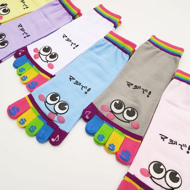 Женщины носки 5 пальцы хлопчатобумажные носки фитнес упражнения спорта пилатес массаж носок улыбающееся лицо модели высокое качество носки купить на AliExpress