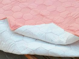 Coral quilted bedspread, hexagon pattern, cotton quilt, 100% cotton, 60X90 inches
