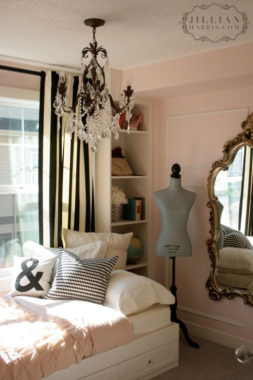 Cute Black And White Striped Curtains In A Pink Room With Gold Mirror +  Chandeleir U003d
