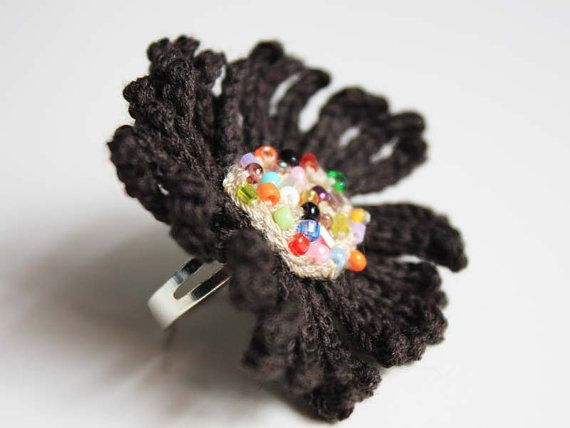 Crocheted Beaded Black and Beige Flower by CraftAroundTheClock