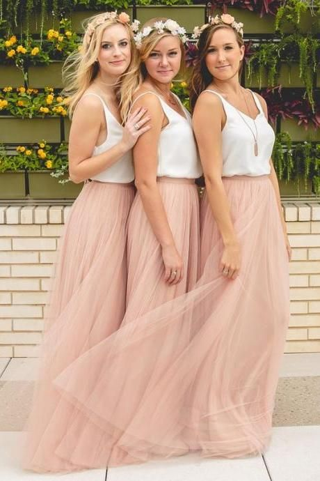 Fashion Blush Pink Bridesmaid Dresses,Tulle Bridesmaid Dress, Long Bridesmaid Dress,Cheap Bridesmaid Dress,Simple Bridesmaid Dress,Wedding Party Dress,Bridesmaid Dress,Hot Sale Bridesmaid Dress,