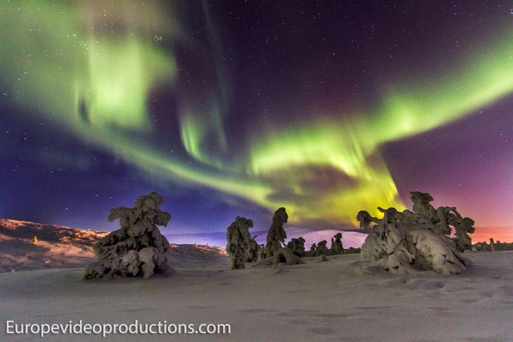 Nordlichter in Levi, dem beliebtesten Skigebiet in Finnisch-Lappland