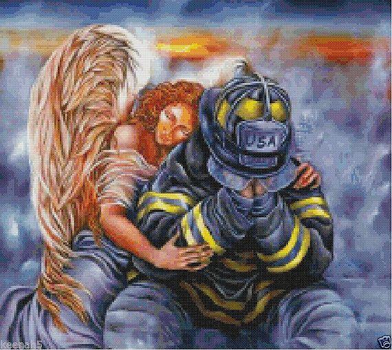 Angel Guarding Firefighter Cross Stitch by KeenahsCrossStitch