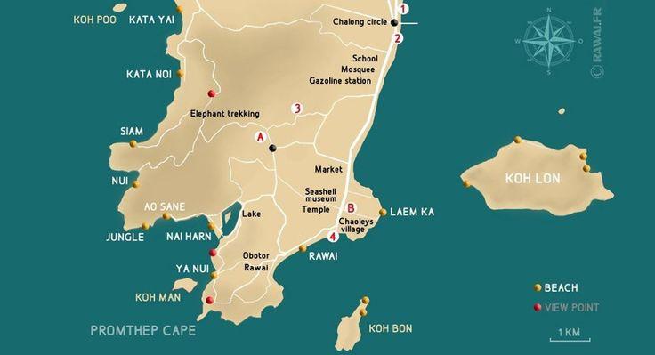 Carte de Rawai à Phuket