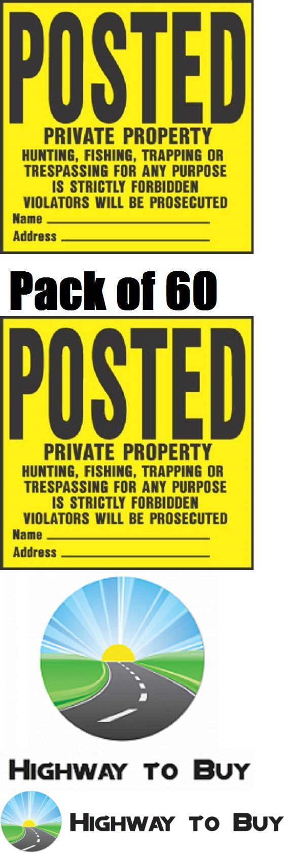 Trail Markers and Signs 177889: (60) Hy-Ko Yp-1 11 X 11 Posted Private Property No Hunting Trespassing Signs BUY IT NOW ONLY: $65.89