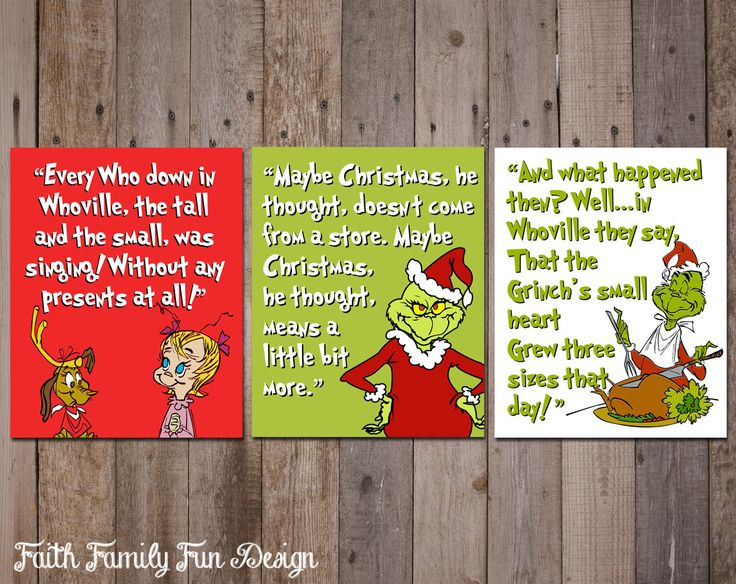 """The Grinch Who Stole Christmas INSTANT DOWNLOADS. Family Christmas Decorations. Holiday Decor. Christmas Gift. Christmas Printables. 8x10"""" by FaithFamilyFunDesign on Etsy https://www.etsy.com/listing/214326214/the-grinch-who-stole-christmas-instant"""