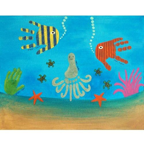 Hand und Fußabdruck Fische