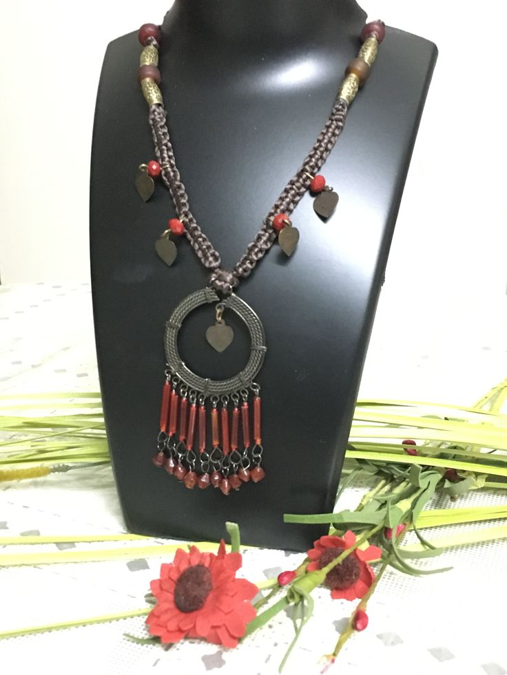 Traditional Indian Choker necklace with bronze toned heart dangles set in satin cord with tribal weave