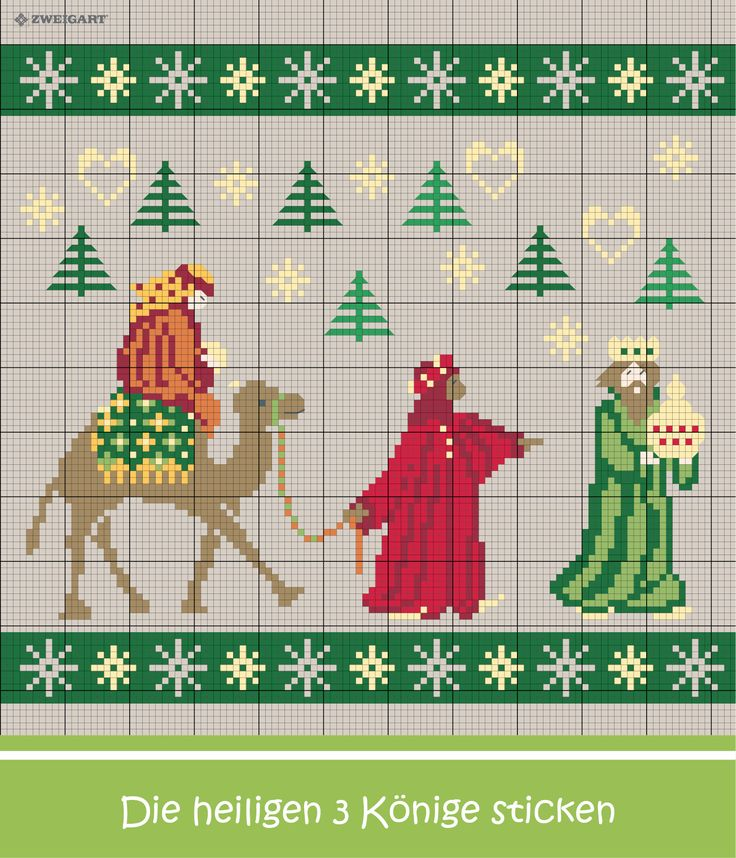 Die Heiligen drei Könige sticken #Sticken #Kreuzstich / #Weihnachten  #Embroidery #Crossstitch / #Christmas #ZWEIGART