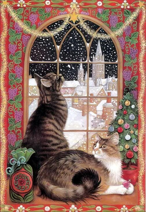 """Previous pinner information.This was my Christmas card a few years back. It is called """"Christmas Window,"""" by Lesley Anne Ivory. Lesley's predominately watercolor and gouache artwork is heavily influenced by her love of pattern - from Indian and Persian tapestry and design to the mosaics and friezes of antiquity. For Lesley, cats are """"handsome, consoling, and magical."""""""