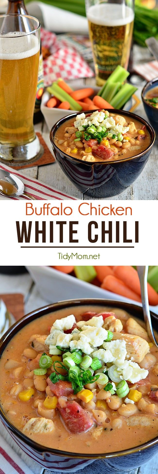 This easy Buffalo Chicken White Chili recipe is a keeper! It has a nice mild heat from the buffalo sauce and fire roasted tomatoes, while the sweet corn, Bush's White Chili Beans and ranch dressing mix really make this chili something special. The chili is creamy, rich and bold. Fills you up and keeps you warm. It earns a spot in our dinner rotation. Get the recipe at TidyMom.net