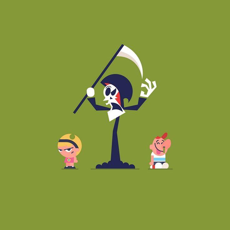 Personagens do Cartoon Network em coloridas ilustrações - A ilustradora Naydine Hartzenberg utilizou formas simples e cores significativas para ilustrar alguns personagens do Cartoon Network