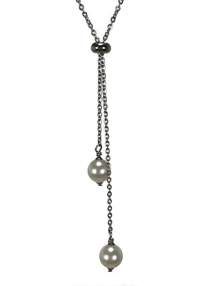collier sautoir perles swarovski sur chaine en acier inoxydable