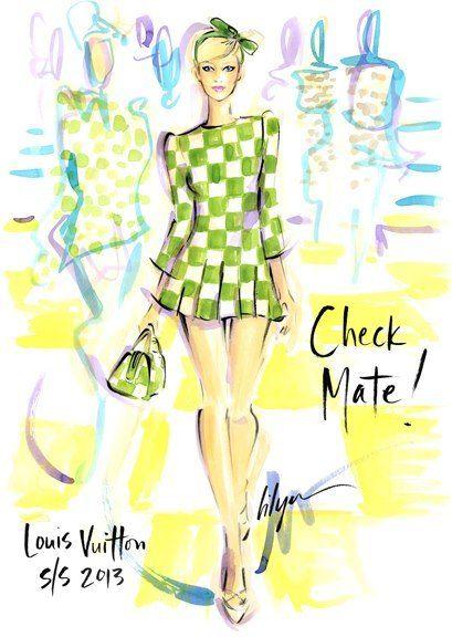 "Louis Vuitton S/S 2013 by Jennifer Lilya. Illustration.Files: Hip To Be Square…""Check Mate!"" by Jennifer Lilya | Draw A Dot."