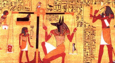 Papyrus of Ani Book of the Dead - Baboon sat on top of the scales whilst Thoth, the scribe takes notes