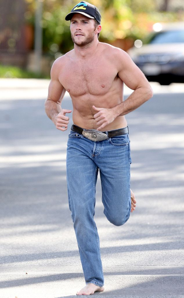 Scott Eastwood///Not sure why he decided to run in blue jeans and with no shoes on, but I do not mind at all. This man is gorgeous.