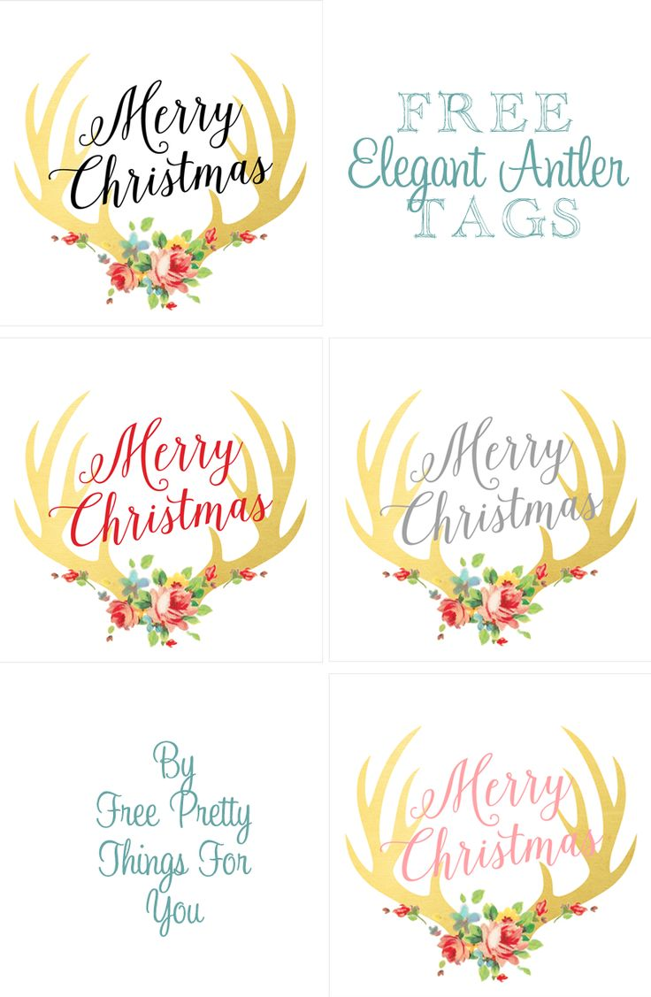 Free Christmas gift gold leaf  antler rose tags #pretty #freeprintables #masonjarlabels