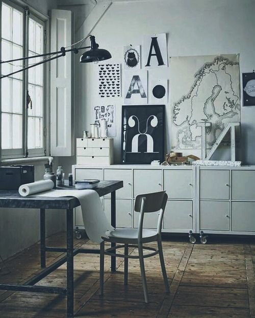Urban Industrial home office studio working space interior design decoration inspiration styling photography