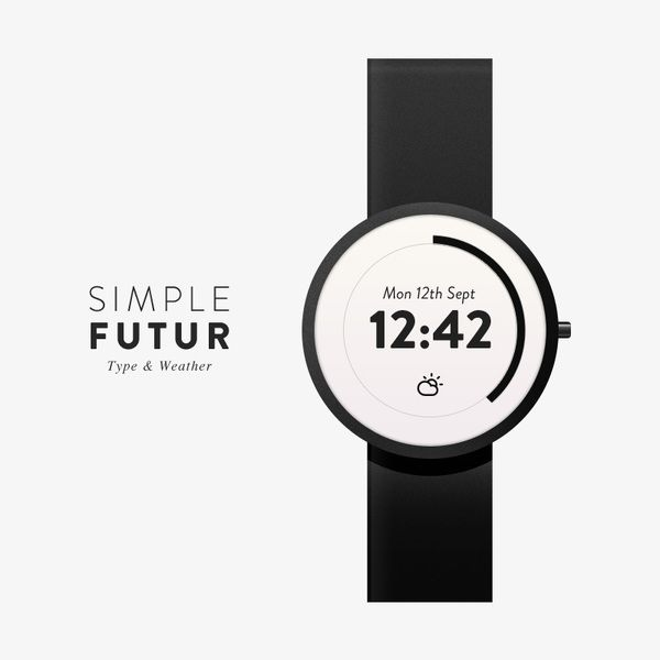 Simple Futur Watch - Type & Weather- it expresses how this type is use on devices and has like a simple feeling to it on the watch in the poster that shows the future.