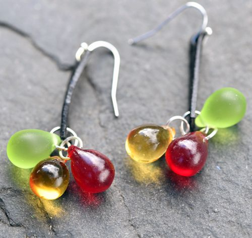 Náušnice červeno-zeleno-žluté