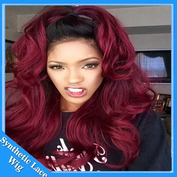 Black To 99j Burgundy Wine Red Ombre Wig Body Wave Natural Synthetic Lace Front Wigs Heat Resistant Hair Swiss Lace Wig Chemo Wigs Hair Pieces Wigs From Ruimeiwigs, $29.05| DHgate.Com