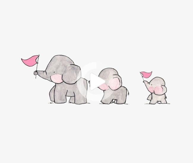 Hand Painted Designs Elephant Cartoon Three Little Elephant Elephant Png And Psd File For Free Baby Elephant Cartoon Cartoon Elephant Baby Animal Drawings