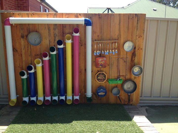 """Music wall at Goodstart Estella, image shared by let the children play ("""",)"""